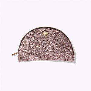 TARTE Half Moon Glitter Cosmetic Makeup Travel Bag